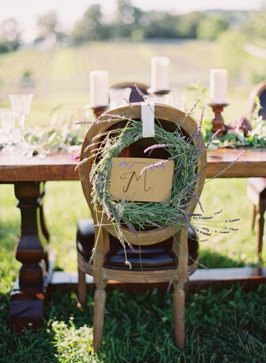 lavender wreath chair sign