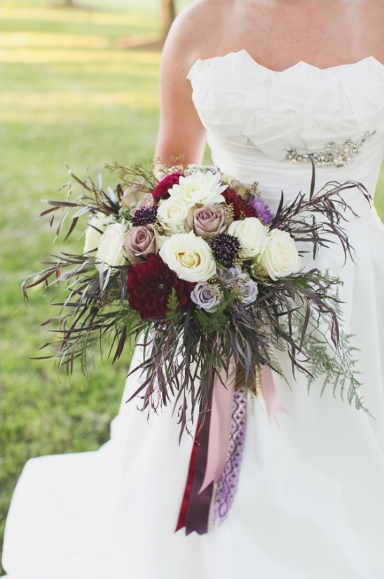 rustic purple and red wedding bouquet by alicia jayne florals