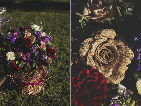burlap wedding florals