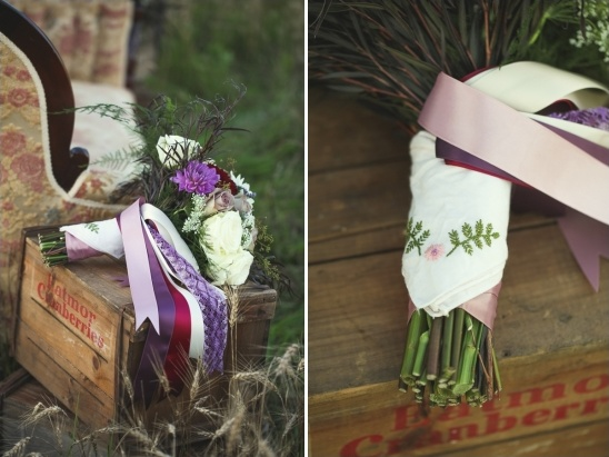 wedding bouquet with grandma's keepsake handkerchief