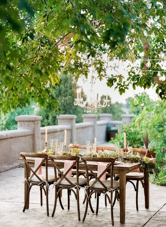 elegant patio wedding reception