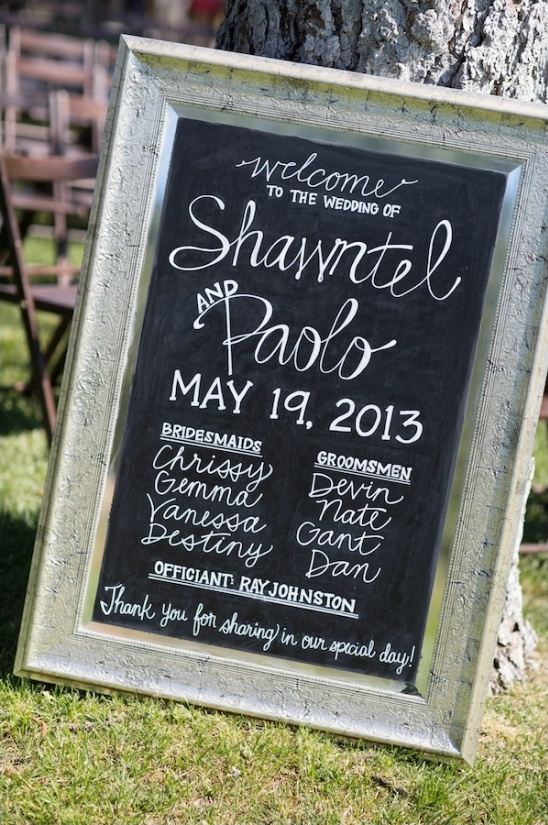 chalkboard and antique picture frame welcome sign