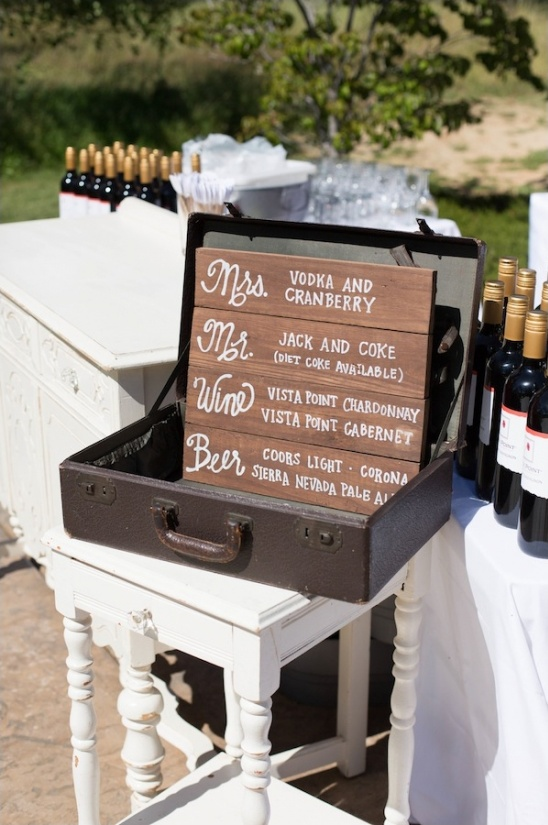drink menu in vintage suitcase
