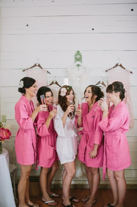bright pink getting ready robes