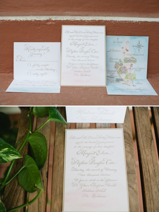 beach wedding stationery by foglio press