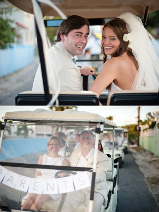 golf cart wedding caravan