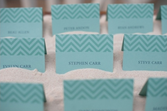 blue chevron escort card ideas