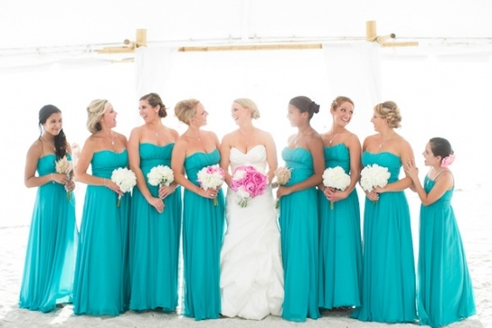 Breezy beach wedding in turquoise and pink for Turquoise bridesmaid dresses for beach wedding