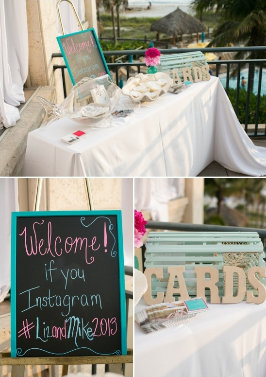 beach wedding welcome table ideas
