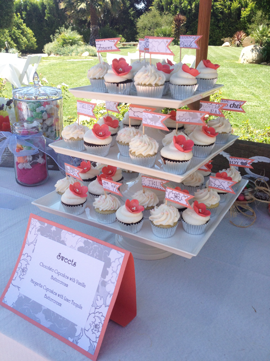 coral floral bridal shower cupcakes