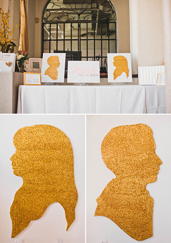 gold silhouette thank you table