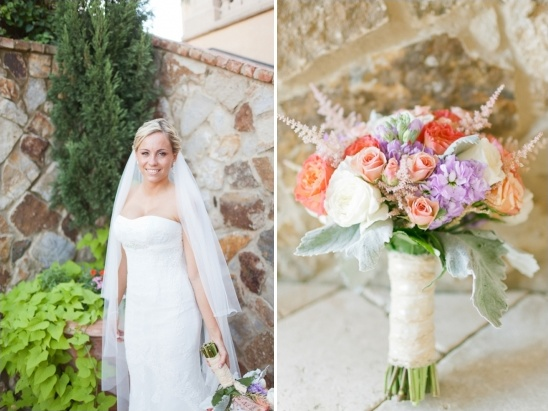 purple, peach and pink bouquet