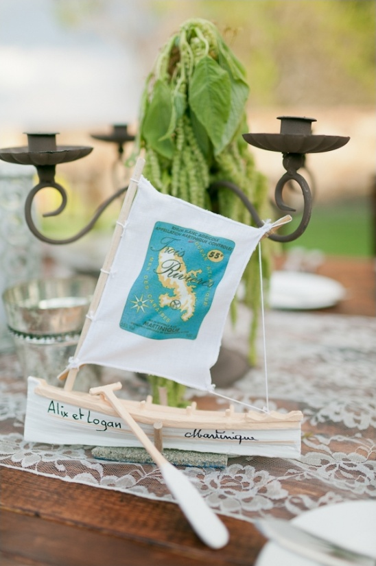 travel themed sailboat centerpiece