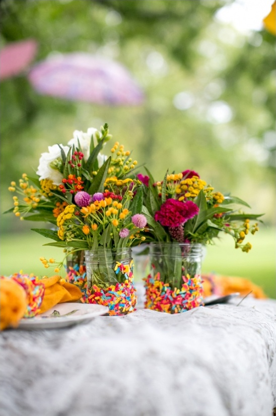 confetti covered mason jar vases