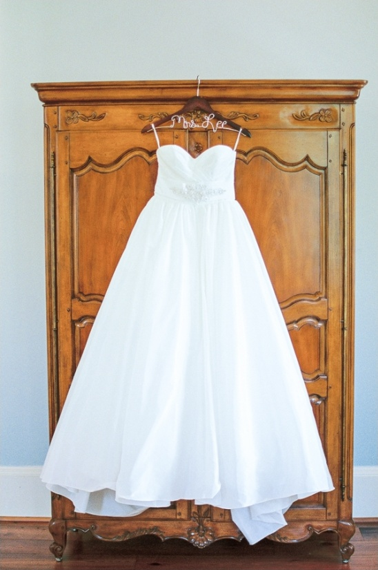 watters wedding gown on personalized hanger