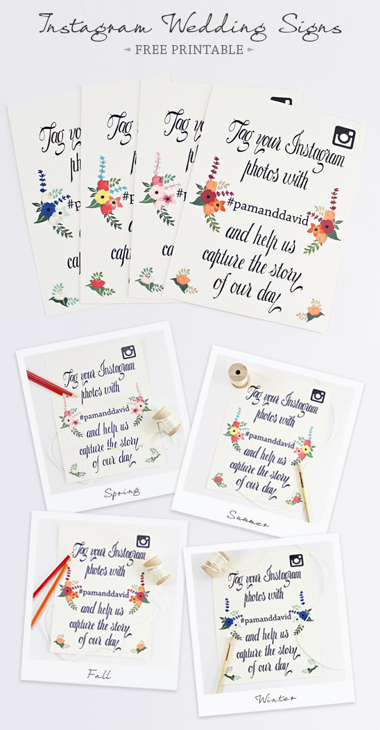 Instagram Wedding Signs Free Printable