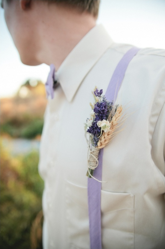 lavender and wheat boutonniere