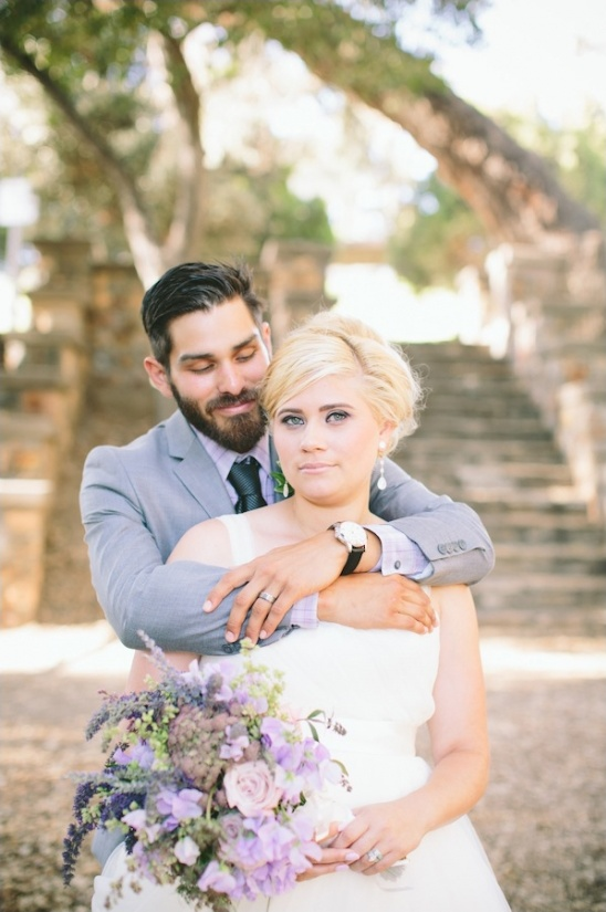 purple and gray bride and groom looks