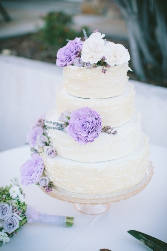 hand made lavender and white wedding cake