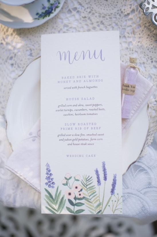 lavender wedding menu ideas