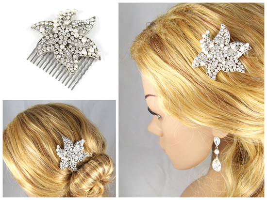 Bridal hair comb, crystal hair comb, swarovski pearl, pearl hair accessories, weddings, brides, bridesmaids, silver, white,