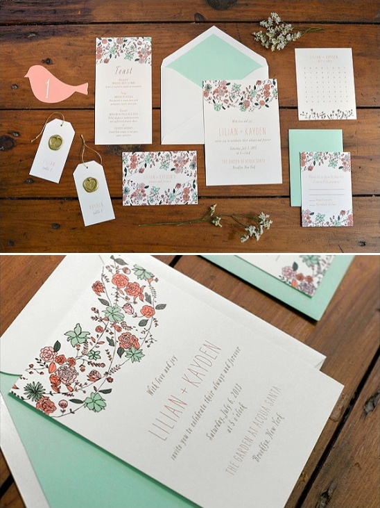 teal and orange wedding invite