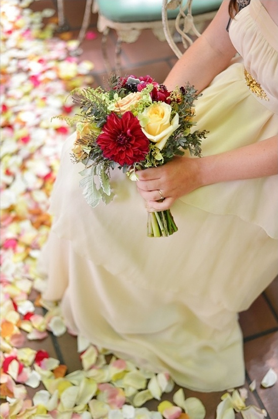 yellow and red wedding bouquet