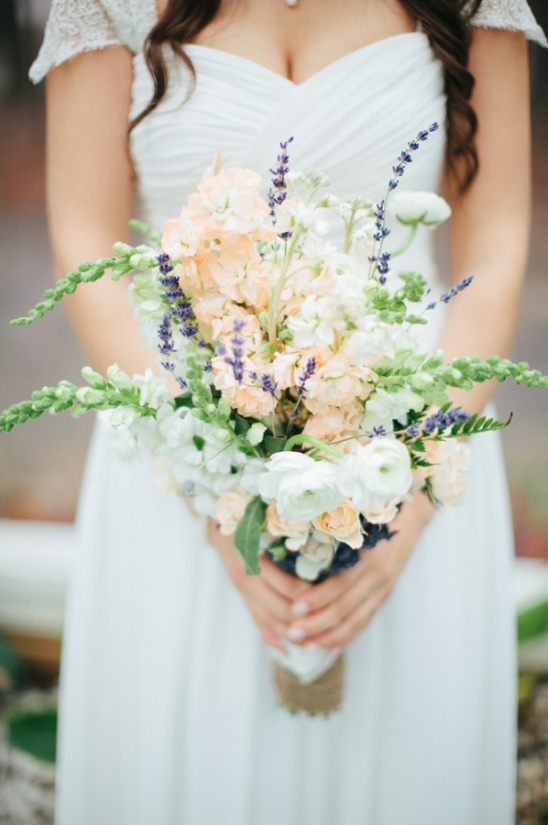 peach, white and purple wedding bouquet