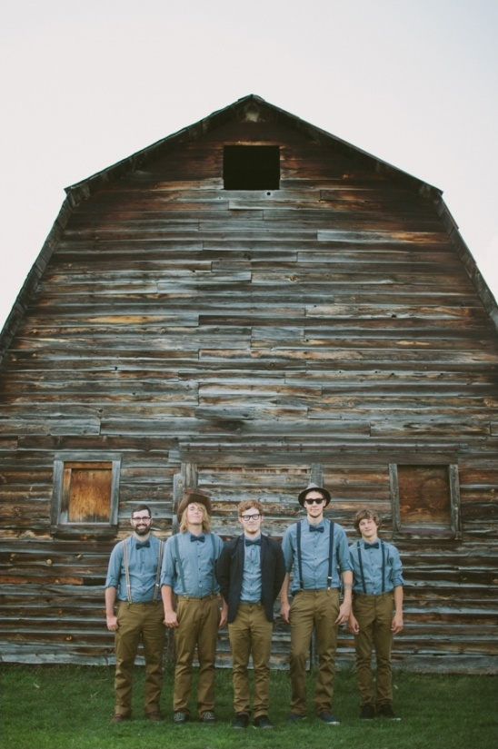 blue and tan groomsmen look
