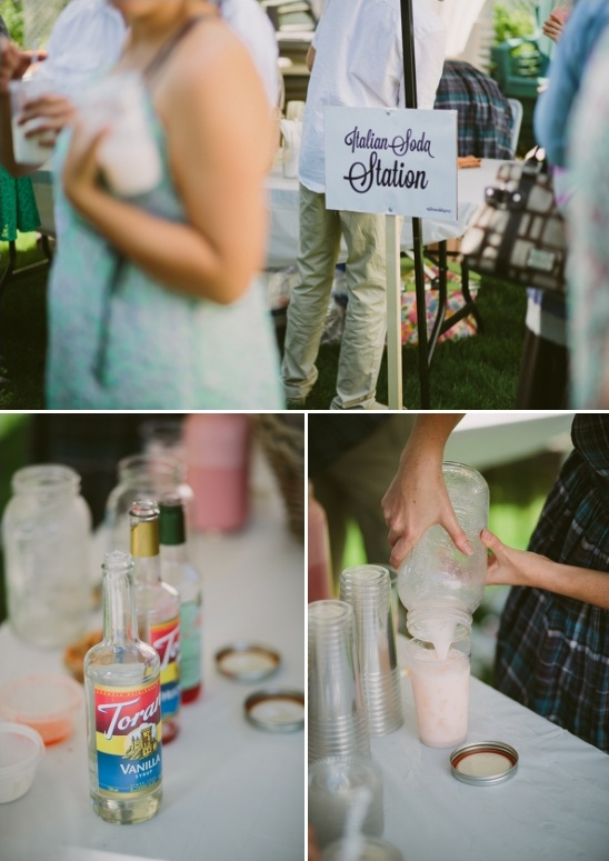 italian soda station at wedding