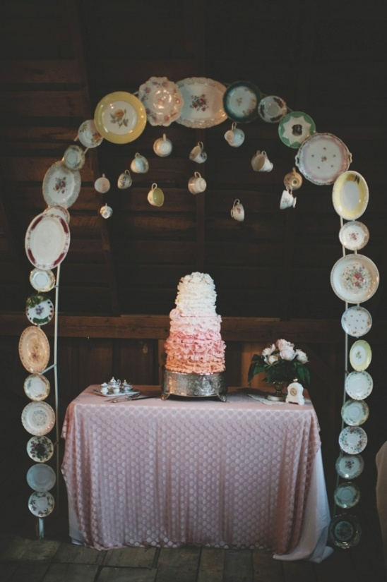 antique china cake table arch