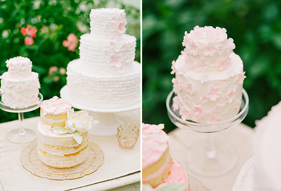 pink and white wedding cakes