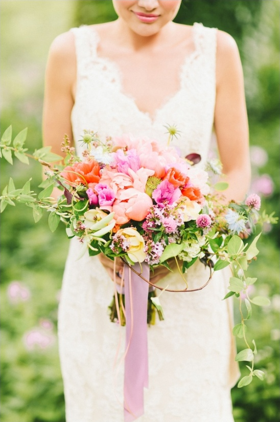pink poppy and peony wedding bouquet by mobtown florals