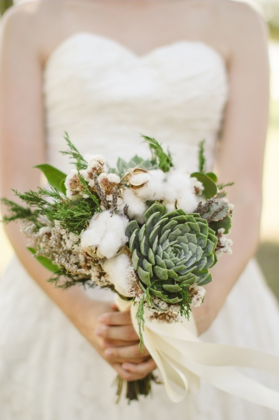 cotton and succulent wedding bouquet by paisley petals flower studio