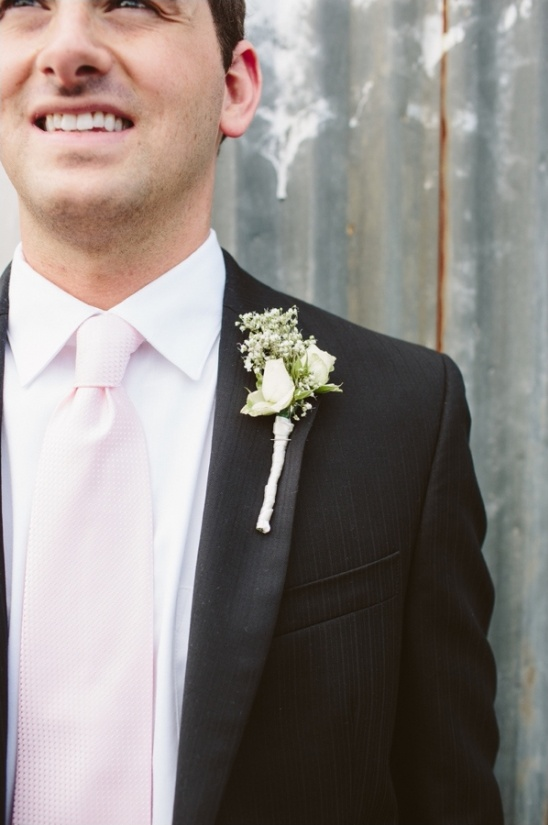rose and babys breath boutonniere