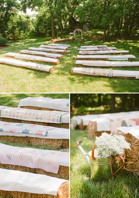 quilt covered hay bale ceremony seating ideas