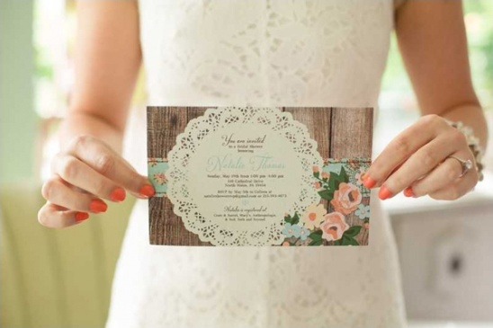 blog - vintage bridal shower in mint and peach, Wedding invitations