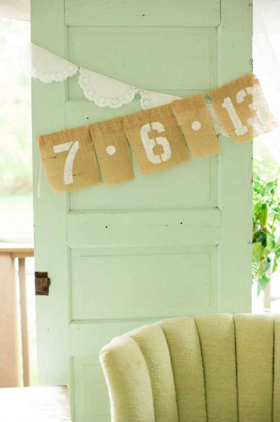 burlap wedding sign