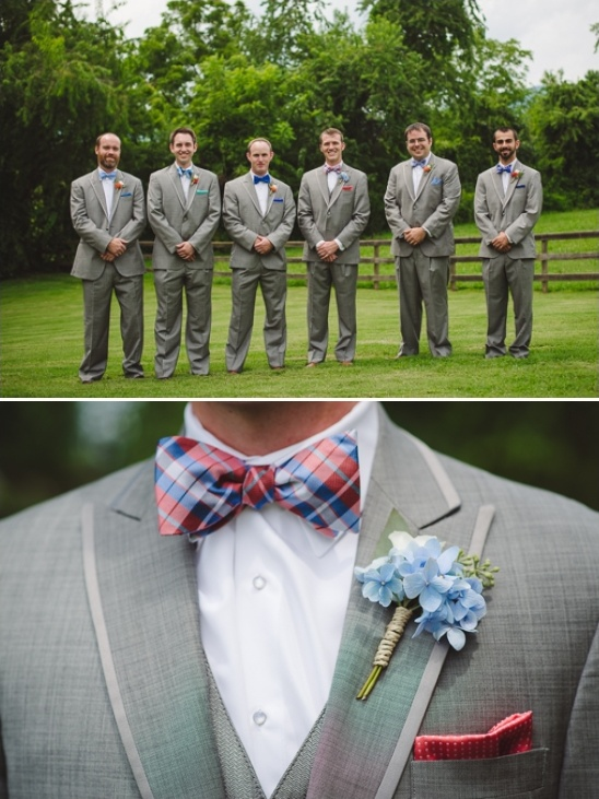 gray blue and red groomsmen look