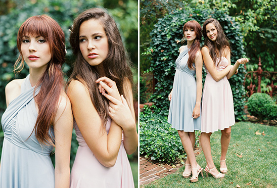 pink and blue bridesmaid dresses