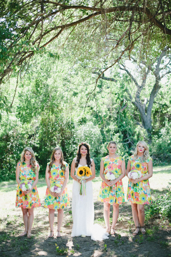 colorful floral bridesmaid dresses