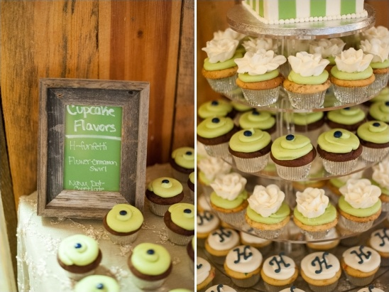 white, green and blue wedding cupcakes