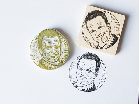 Hand Carved Portrait Rubber Stamp