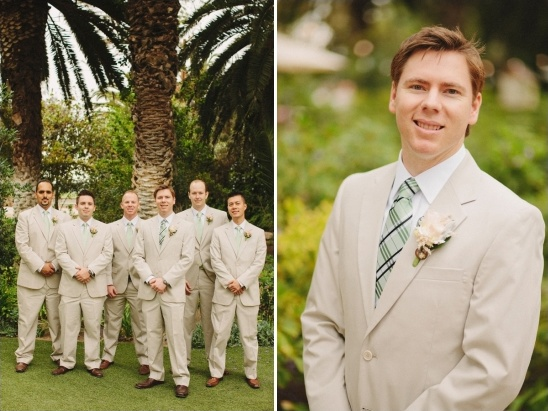 green and beige groomsmen look