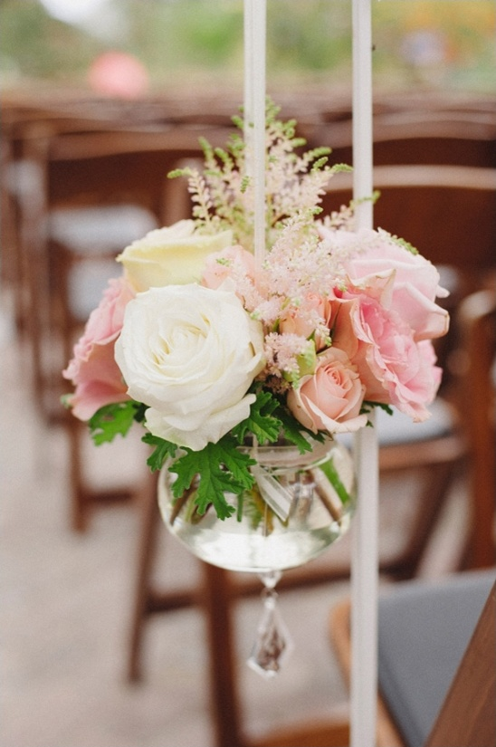 white and pink rose aisle decor