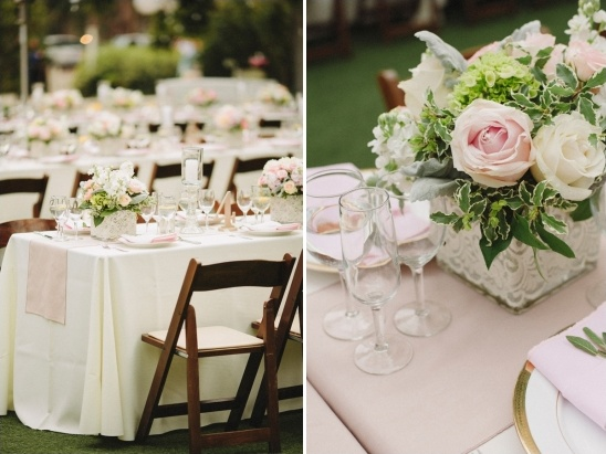 pink and gold reception table decor