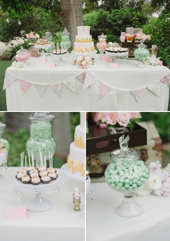 pink green and gold dessert table