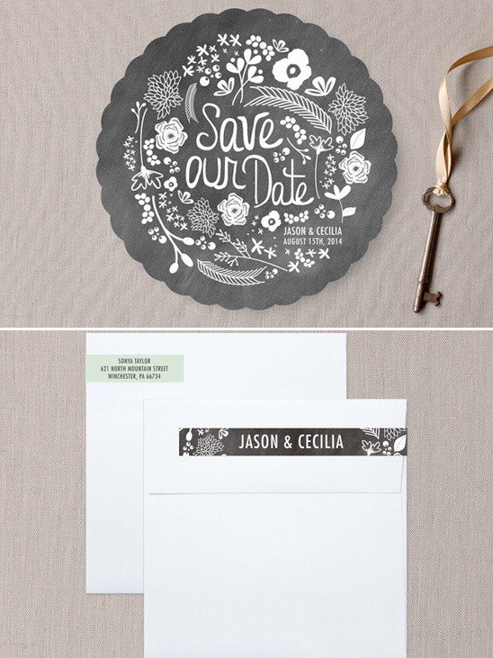 handwritten florals save the date cards