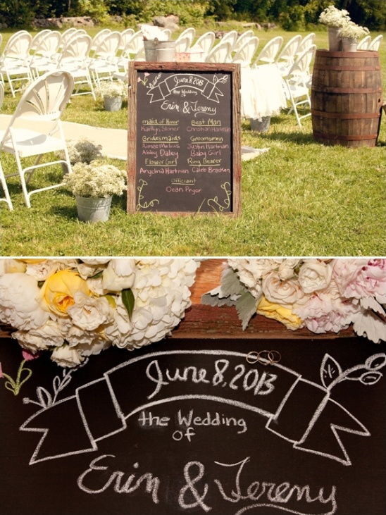 chalkboard wedding sign with bridal party written on it