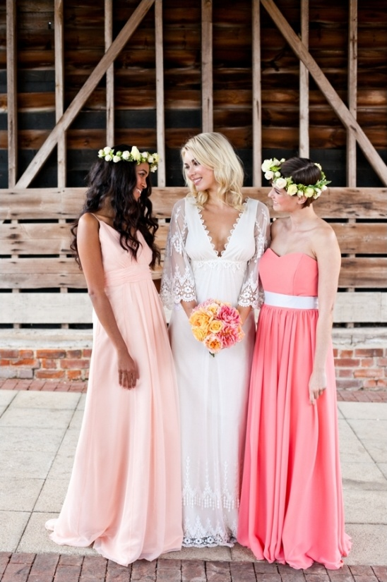 long peach and coral bridesmaid dresses